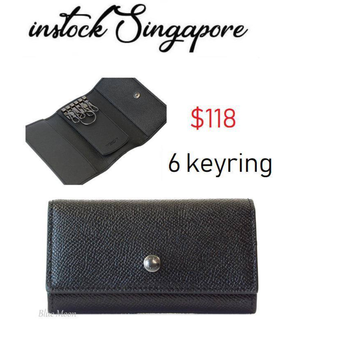 d9b335067a READY STOCK authentic new Coach F26100 Men's 4 Ring Key Case Holder Black  Crossgrain