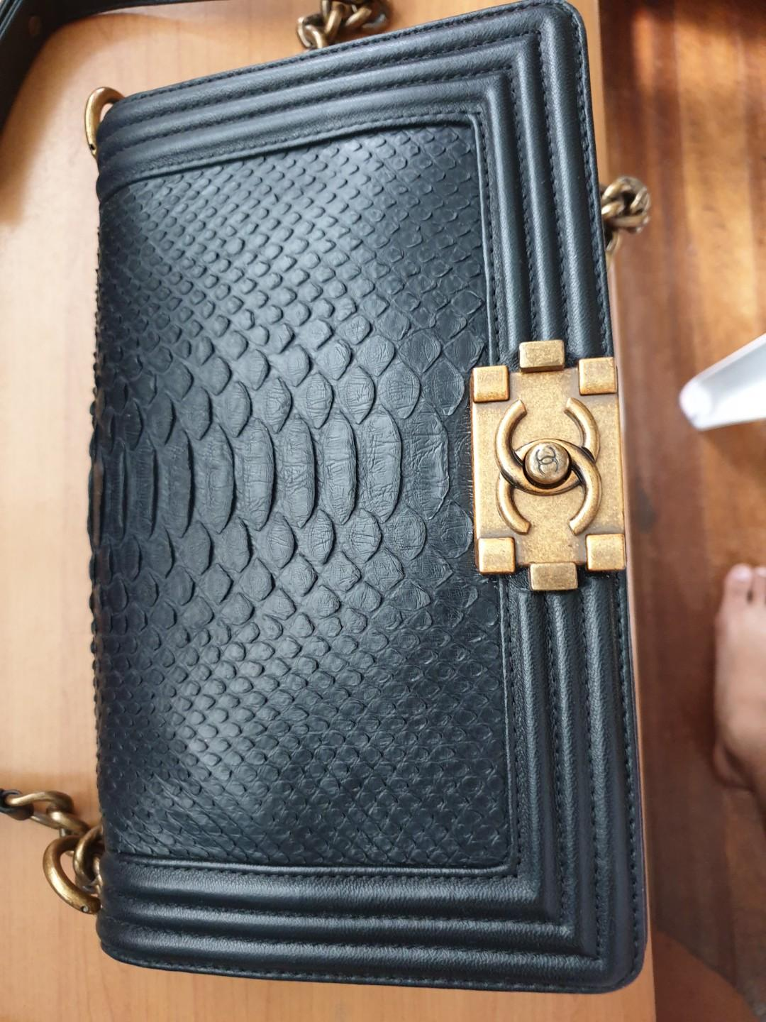 SALE!!! Chanel Le Boy Exotic Python Medium from 13k, Luxury, Bags & Wallets  on Carousell