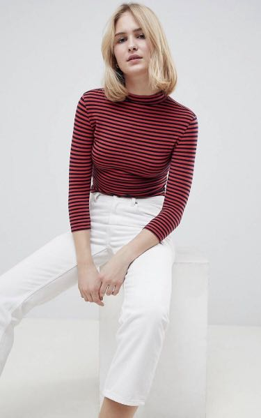 e462b1945ce6a 🔴SALE🔴BN Mock Neck Long Sleeved Striped Crop Top