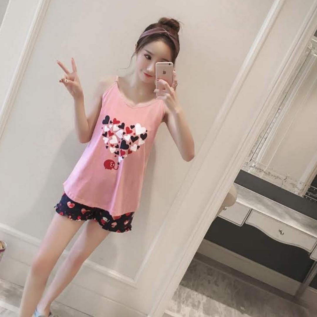 645f13beb1 *SG Ready Stock* Lots of love padded 2pcs pyjamas shorts set nightwear  homewear casual