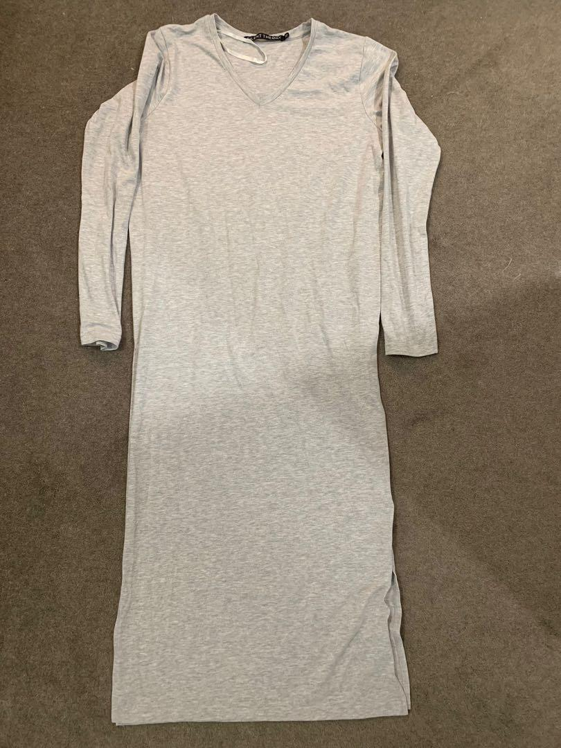 Silent Theory grey womens long sleeve side split tee - size 10