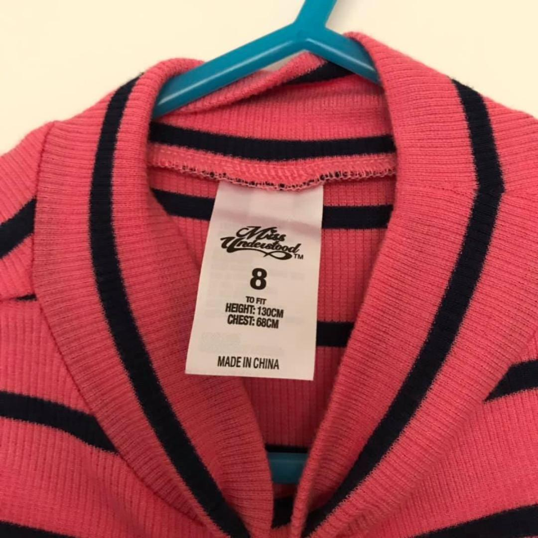Size 8 As new Pink striped Light knit 3/4 sleeve turtle neck summer top