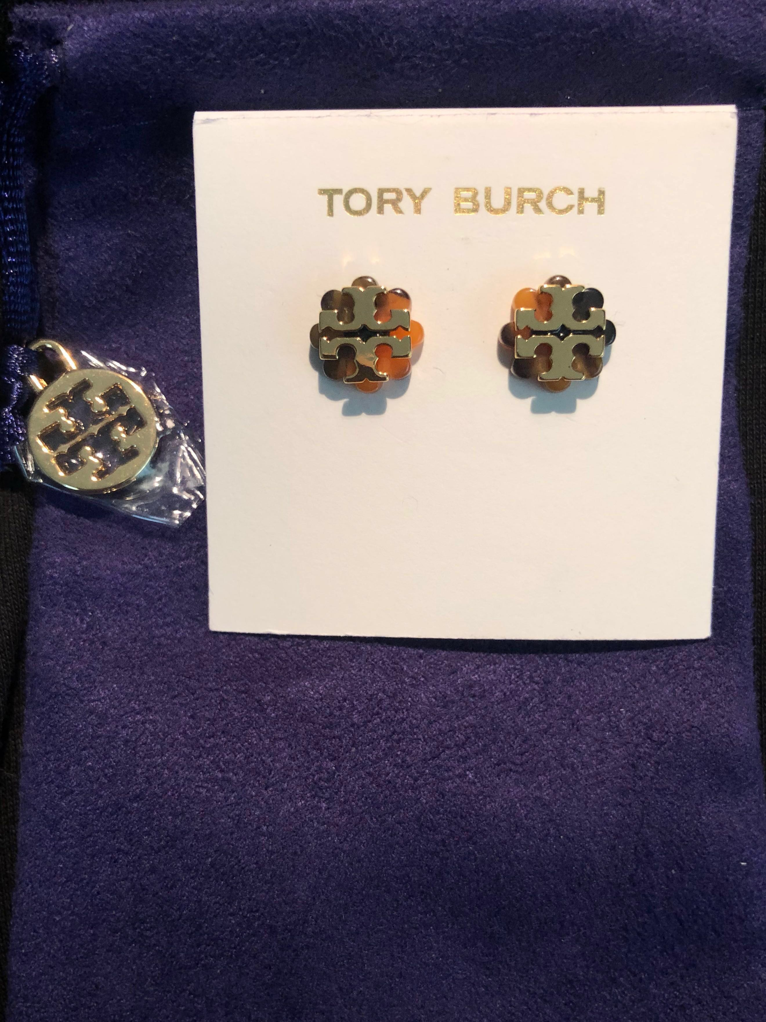 f3c3a9788 Tory Burch Original Gold Logo Earrings in elegant tortoise base ...
