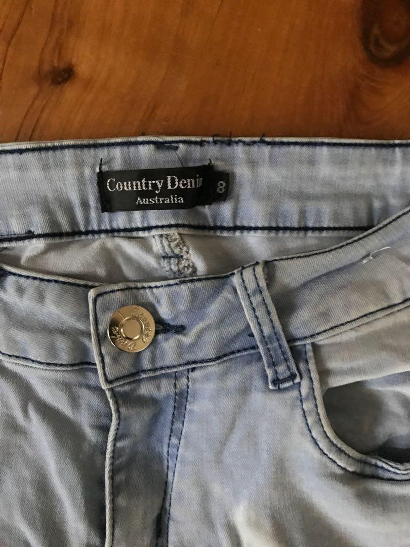Women's country denim distressed stretch jeans size 8