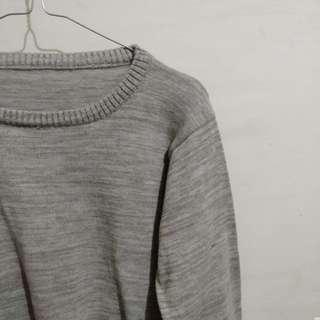 Grey crop knit sweater long sleeve