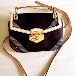 Carlo Rino Cross-body or Shoulder-sling Handbag + Purse. Leather & fabric. Unused it or lightly used. Brand New. Good condition, no damage. $50 offer! WhatsApp 96337309.