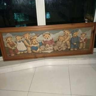 Rare country Bear Wooden frame vintage bear picture