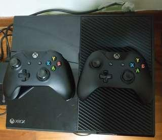 Xbox One with two controllers