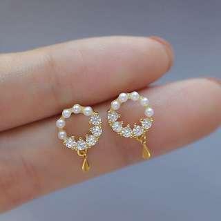 S925純銀百搭包金鑲鑽貝珠鋯石花環耳釘