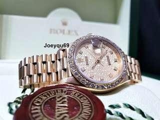 "ROLEX ""QUEEN"" 69178 President Datejust Solid Gold 10 Diamonds dial/Full diamond bezel!"