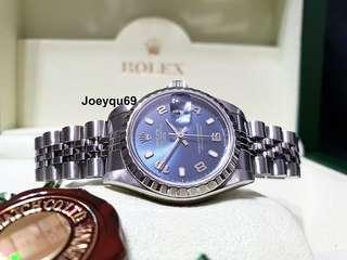 Ladies ROLEX Oyster Perpetual Date 79240 Rare Blue Dial Engine Turned Bezel - No pinhole !