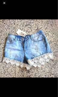 BNWT TEMT denim lace shorts