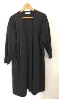 🚚 長版黑色黃色長袖口袋棉質懶人文青外套開衫