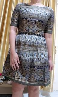 #bersihbersih Low Back Custom Mini Dress Etnik Blue & Gold
