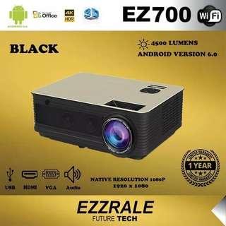 Ezzrale 3D led EZ700 proyektor 4500 lumens (upgrade) android 5G WiFi