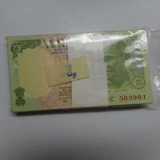 india 5 rupees 2009 banknotes one stack unc
