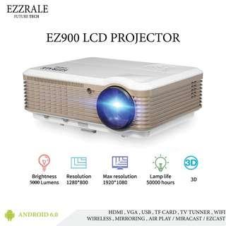 EZZRALE EZ900 proyektor 3D LED android 5G + TV tunner 5000 lumens