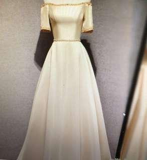 Champagne Gold Off-Shoulder Long Gown