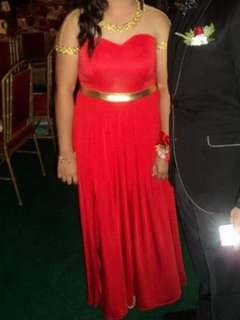 Fiery Red Long Gown with Gold Lace