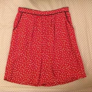 Promod red flower skirt