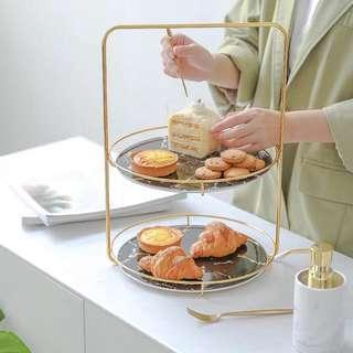 Two tier ceramic dessert storage tray