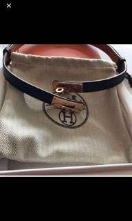 Hermes black Kelly belt gold hardware at $950 Only!