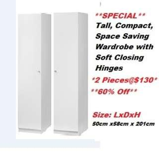 Compact wardrobe with soft closing hinges