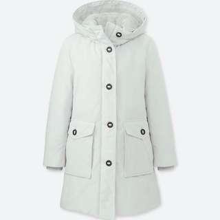 Uniqlo ultra warm down feather winter jacket womrn grey XL