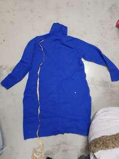 100% pure wool winter Sweater dress blue size XL