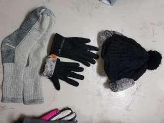 Winter Gloves & beanie hat with ear cover & wool socks stockings