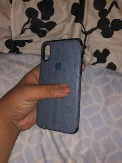 Blue wood texture case for iphone x and xs