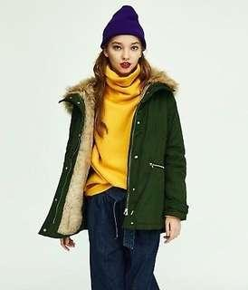 Zara faux fur hooded Winter Coat parka dark green