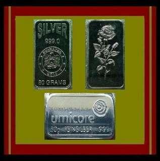 👉 Emirates & Umicore - 2x 50 Grams / 100g (3.21 Oz Troy) 999 Fine Silver ingot bars