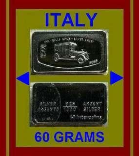 👉 ITALY - 1x 60g Grams (1.78 Oz. T 999) Fine Silver ingot art bar