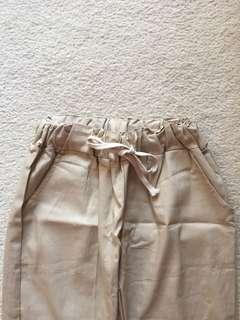 Women's linen beige loosefit pants