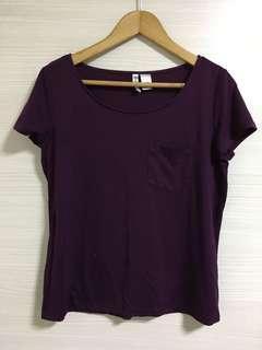 H&M Purple Plain Tee Shirt
