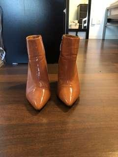 Salmon coloured pleather booties size 10