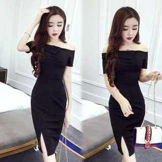 Black Off Shoulder Formal Slit Dress