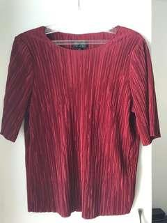 TOPSHOP pleats red top size 6