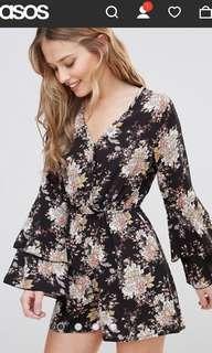 Asos Floral playsuit long sleeves