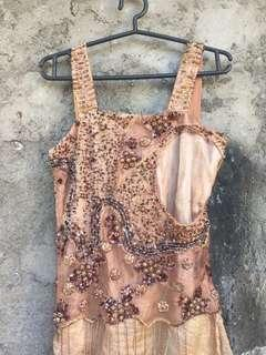 Coffee Fully Beaded Gown