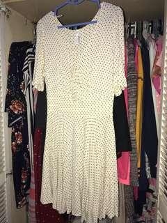 Cream Polka Dress