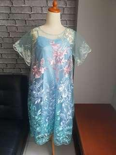 Blue froral gradation tulle dress