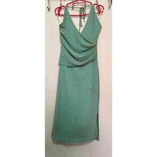 Green formal dress with gold small beads