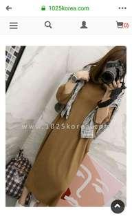 🚚 轉賣1025 駝色 八分袖魟魚袖不對稱針織氣質洋裝 韓妮 may5253