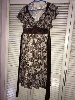 Brown Vneck Dress