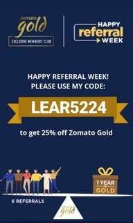 Kode Zomato Gold