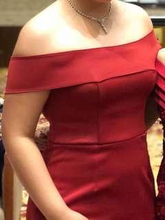 Off Shoulder Burgundy Formal Gown