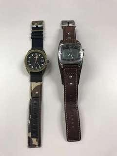 NIXON Rover II Camo Patchwork and FOSSIL AM-3695 Brown Leather