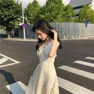 [PO] Lacey vneck cross back long dress